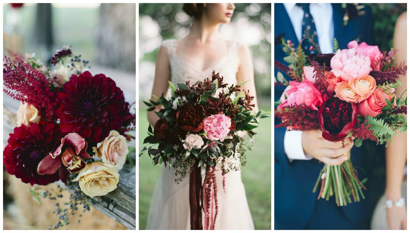 Цветы для свадьбы цвета марсала